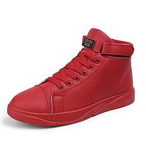 preiswerte Herrenschuhe-Herrn Komfort Schuhe PU Frühling Sommer / Herbst Winter Freizeit / Preppy Sneakers Atmungsaktiv Schwarz / Weiß / Rot