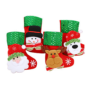 cheap Christmas Decorations-4PcsChristmas Stocking Chrismas Decoration Sock for Home Christmas Tree Ornaments Gift Holders Stockings New Year Gift Bags