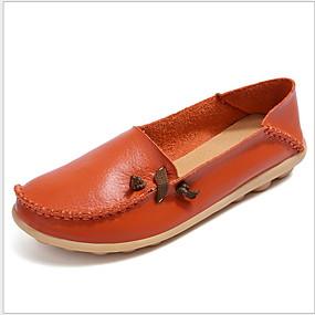 voordelige Damesschoenen met platte hak-Dames Platte schoenen Platte hak Ronde Teen Leer Zomer Zwart / Wit / Oranje