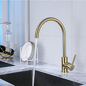 cheap Kitchen Faucets-Single Handle One Hole Brushed Gold Standard Spout / Tall / ­High Arc Centerset Contemporary Kitchen Taps