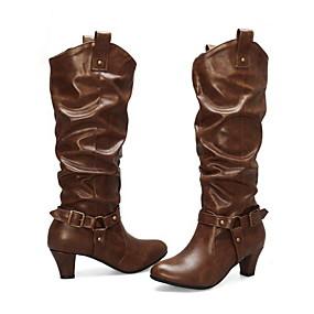 billige Mote Boots-Dame Støvler Knehøye Støvler Tykk hæl Rund Tå PU Knehøye støvler Sommer Svart / Brun / kaffe