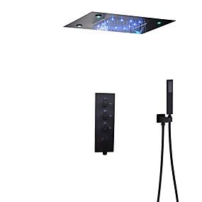 preiswerte Armaturen-Bad Dusche Wasserhahn Set / 50x36 cm LED-Duschkopf / Handbrause enthalten / heißes und kaltes Bad Mischventil / Messing / modern
