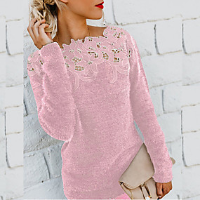 cheap Winter Clothing-Women's Solid Colored Long Sleeve Pullover Sweater Jumper, Round Neck Black / Wine / Purple S / M / L