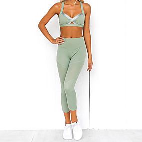 cheap Women's Activewear-Women's 2pcs Yoga Suit Summer Solid Color Green Yoga Fitness Gym Workout High Waist Cropped Leggings Bra Top Clothing Suit Sleeveless Sport Activewear Butt Lift Quick Dry Moisture Wicking Breathable
