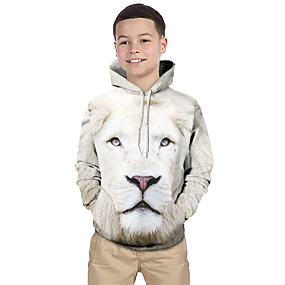 cheap Kids 3D Fashion-Kids Toddler Boys' Active Basic Lion Geometric Print Color Block Print Long Sleeve Hoodie & Sweatshirt White / Animal