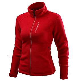 cheap Camping, Hiking & Backpacking-Women's Hiking Fleece Jacket Winter Outdoor Solid Color Windproof Fleece Lining Warm Soft Winter Fleece Jacket Top Single Slider Camping / Hiking / Caving Traveling Winter Sports Dark Grey Black Red