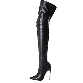 preiswerte Damenschuhe-Damen Stiefel Over-the-Knie Stiefel Stöckelabsatz Spitze Zehe PU Übers Knie Herbst Winter Schwarz