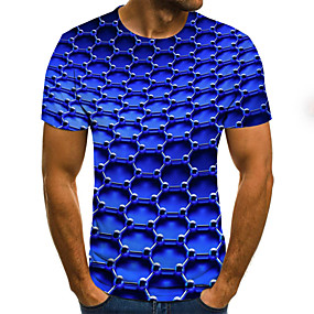 preiswerte Herrenmode-Herrn Geometrisch / 3D / Grafik - Street Schick Übergrössen T-shirt, Rundhalsausschnitt Gefaltet / Druck Blau / Kurzarm