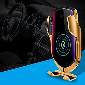 cheap Car Charger-R1 Smart Automatic Clamping Qi Car Wireless Charger with Positioning 10W Fast Charging 360 Rotation infrared Sensor Air Vent Mount Car Phone Holder for Iphone XR XS Huawei P30 Pro Xiaomi