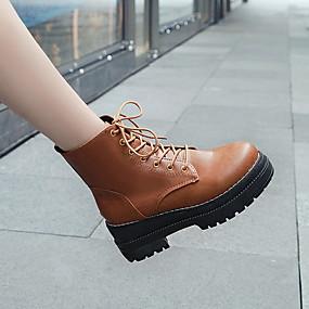 billige Mote Boots-Dame Støvler Tykk hæl Rund Tå Lær / PU Støvletter Vår Svart / Brun