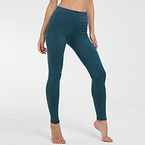 cheap Yoga & Fitness-Women's High Rise Yoga Pants Solid Color Fitness Gym Workout Leggings Bottoms Activewear Moisture Wicking Butt Lift Tummy Control Power Flex Stretchy Skinny