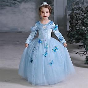 preiswerte Baby & Kinder-Kinder Mädchen Aktiv Süß Solide Halloween Pailletten Langarm Midi Kleid Blau