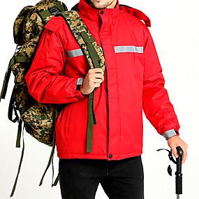 cheap Camping, Hiking & Backpacking-Men's Hiking Jacket Autumn / Fall Winter Outdoor Stripes Waterproof Windproof Warm Soft Jacket Top Ski / Snowboard Climbing Camping / Hiking / Caving Black Red Blue