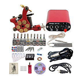 preiswerte Tattoo Beginner Sets-BaseKey Tätowiermaschine Beginner Set - 1 pcs Tattoo-Maschinen mit 10 x 5 ml Tätowierfarben, Professionell Aleación Mini Stromversorgung Case Not Included 19 W 1 x Stahl-Tattoomaschine für