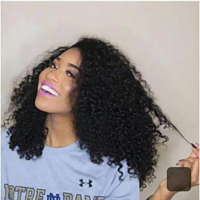 ราคาถูก Ombre Lace Wigs-วิกผมจริง มีลูกไม้ด้านหน้า วิก ฟรี Part สไตล์ ผมบราซิล ผมแบบ Jerry curl ดำ วิก 130% 150% Hair Density คลาสสิก ผู้หญิง แฟชั่น สำหรับผู้หญิง Short วิกผมแท้ Clytie