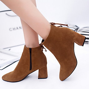 cheap Fashion Boots-Women's Boots Chunky Heel Round Toe Suede Booties / Ankle Boots Fall & Winter Black / Brown / Burgundy