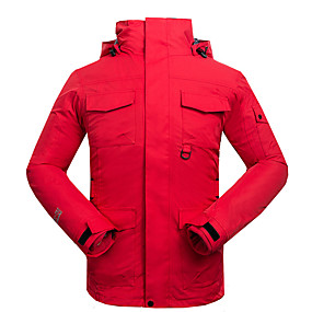 cheap Camping, Hiking & Backpacking-Cikrilan Men's Hiking Jacket Autumn / Fall Winter Outdoor Solid Color Waterproof Windproof Warm Comfortable Top Camping / Hiking / Caving Traveling Winter Sports Red Army Green Grey