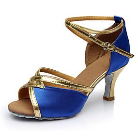 preiswerte Tanzschuhe-Damen Tanzschuhe Lackleder Schuhe für den lateinamerikanischen Tanz Absätze Schlanke High Heel Maßfertigung Blau