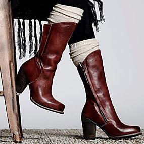 billige Mote Boots-Dame Støvler Tykk hæl Spisstå PU Ankelstøvler Høst vinter Svart / Brun / Mørkebrun