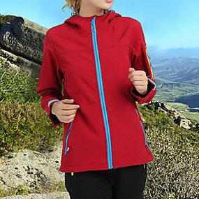 cheap Camping, Hiking & Backpacking-Women's Hiking Jacket Autumn / Fall Winter Outdoor Solid Color Waterproof Windproof Fleece Lining Warm Jacket Top Softshell Hunting Fishing Camping / Hiking / Caving Dark red Violet Red / Breathable