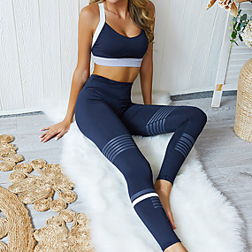 cheap Women's Activewear-Women's 2pcs Yoga Suit Summer Stripes Black Yoga Fitness Gym Workout High Waist Tights Bra Top Clothing Suit Sleeveless Sport Activewear Butt Lift Quick Dry Moisture Wicking Breathable