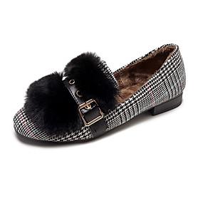 voordelige Damesschoenen met platte hak-Dames Platte schoenen Lage hak Gepuntte Teen PU Zoet Wandelen Herfst winter Zwart / Khaki