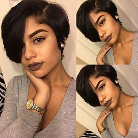 povoljno Bob Style Lace Wigs-Remy kosa 4x13 Zatvaranje Lace Front Perika Bob frizura Stražnji dio stil Brazilska kosa Ravan kroj Crna Perika 130% Gustoća kose Žene Najbolja kvaliteta novi Novi Dolazak Rasprodaja Žene Kratko