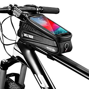 preiswerte Fahrradrahmentaschen-1 L Waterproof Fahrradrahmentasche Outdoor Telefon / Iphone Fahrradtasche PU-Leder Tasche für das Rad Fahrradtasche Radsport Motorrad
