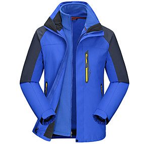 cheap Camping, Hiking & Backpacking-Cikrilan Men's Hiking Jacket Winter Outdoor Patchwork Waterproof Windproof Warm Comfortable Top Camping / Hiking / Caving Traveling Winter Sports Red Army Green Navy Blue Orange Royal Blue
