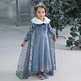 preiswerte Baby & Kinder-Kinder Baby Mädchen Aktiv Süß Solide Halloween Langarm Maxi Kleid Blau