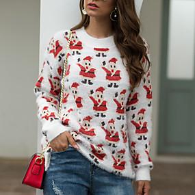 preiswerte Pullover-Damen Weihnachten Geometrisch Langarm Pullover Pullover Jumper Herbst / Winter Baumwolle Schwarz / Weiß S / M / L