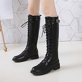 billige Mote Boots-Dame Støvler Blokker hælen Rund Tå Blondesøm PU Støvletter Fritid Gange Høst vinter Svart