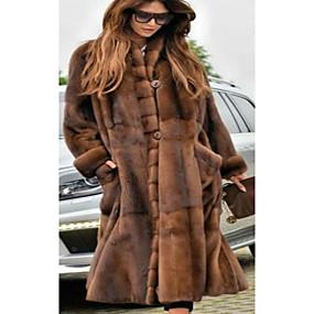 povoljno Zimska odjeća-Žene Party / Dnevno Osnovni Jesen zima Dug Faux Fur Coat, Jednobojni Ruska kragna Dugih rukava Umjetno krzno Braon / Ogroman