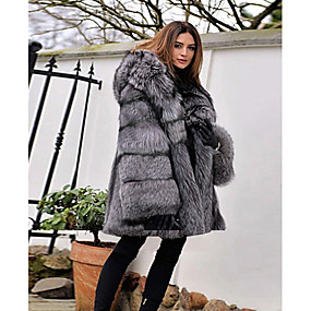 preiswerte Damenbekleidung-Damen Party / Alltag Grundlegend Winter Standard Kunstpelz-Mantel, Solide Mit Kapuze Langarm Kunst-Pelz Grau