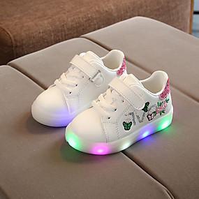 preiswerte Jungenschuhe-Jungen / Mädchen Komfort / Leuchtende LED-Schuhe PU Sneakers Kleinkind (9m-4ys) / Kleine Kinder (4-7 Jahre) Blume Weiß / Schwarz / Rosa Frühling / Herbst / Gummi