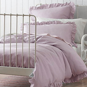 preiswerte Feste Duvet Covers-Bettbezug-Sets Solide Leinen / Baumwolle Plissiert 3 StückBedding Sets