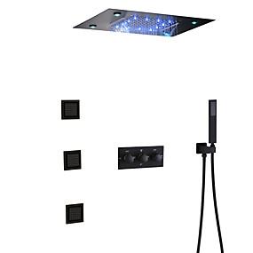 preiswerte Top Seller-Bad Dusche Wasserhahn Set / 50x36 cm LED-Duschkopf / Handbrause enthalten / heißes und kaltes Bad Mischventil / Messing / modern