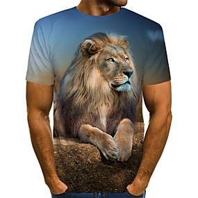 cheap Athleisure Wear-Men's Tee T shirt Shirt 3D Print Graphic 3D Lion Animal Print Short Sleeve Daily Tops Vintage Rock Round Neck Yellow Black Brown / Summer