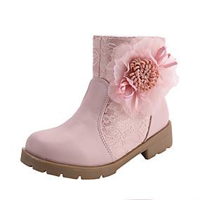 preiswerte Schuhe für Kinder-Mädchen Komfort / Schuhe für das Blumenmädchen Spitze Stiefel Kleine Kinder (4-7 Jahre) / Große Kinder (ab 7 Jahren) Walking Blume / Kombination Weiß / Rosa Herbst / Winter / Party & Festivität