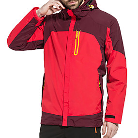 cheap Camping, Hiking & Backpacking-Men's Hiking Jacket Autumn / Fall Winter Outdoor Patchwork Waterproof Windproof Warm Breathable Jacket Top Hunting Ski / Snowboard Fishing Black Yellow Red