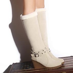 billige Mote Boots-Dame Støvler Snøstøvler Kile Hæl Rund Tå Semsket lær Støvletter Høst vinter Brun / Gul / Rød