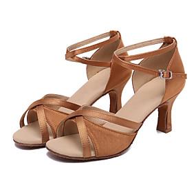 preiswerte Tanzschuhe-Damen Tanzschuhe Satin Schuhe für den lateinamerikanischen Tanz Absätze Kubanischer Absatz Maßfertigung Braun