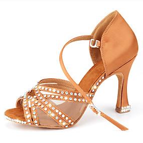ราคาถูก Dance Shoes-สำหรับผู้หญิง รองเท้าเต้นรำ ซาติน โมเดอร์น หินประกาย / หัวเข็มขัด / แสงระยิบระยับ ส้น ส้นป้าน ตัดเฉพาะได้ Almond