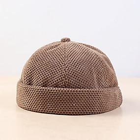 cheap Women's Accessories-Men's Women's Active Basic Cute Cotton Knitwear Beanie / Slouchy Floppy Hat-Solid Colored Fall Winter Black Beige Khaki