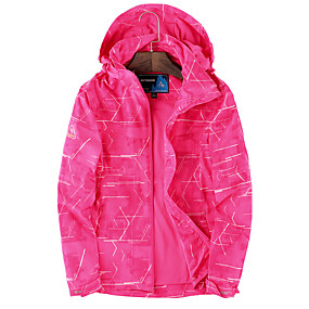 cheap Camping, Hiking & Backpacking-Women's Hiking Jacket Winter Outdoor Waterproof Windproof Breathable Warm Jacket Top Climbing Camping / Hiking / Caving Traveling Violet Fuchsia Royal Blue