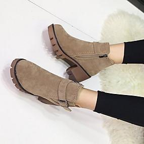 billige Mote Boots-Dame Støvler Blokker hælen Rund Tå Semsket lær Ankelstøvler Høst vinter Svart / Militærgrønn / Kakifarget