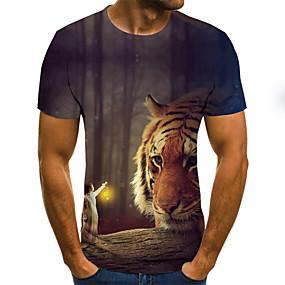 preiswerte Herrenmode-Herrn Einfarbig / 3D / Tier - Street Schick T-shirt Gefaltet / Druck Tiger Leicht Braun