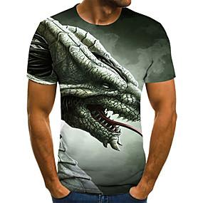 preiswerte Herrenmode-Herrn Geometrisch / 3D / Tier - Street Schick T-shirt Gefaltet / Druck Armeegrün