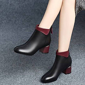 cheap Fashion Boots-Women's Boots Chunky Heel Round Toe PU Booties / Ankle Boots Minimalism Fall & Winter Black / Color Block