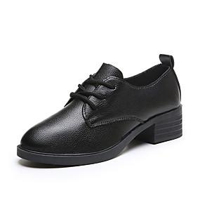 voordelige Dames Oxfords-Dames Oxfords Blokhak Ronde Teen PU minimalisme Herfst Zwart / Wit